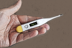 Thermometer with fever