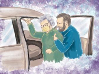 Man helping woman get in car
