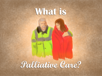 Palliative comes from palliare - or cloak
