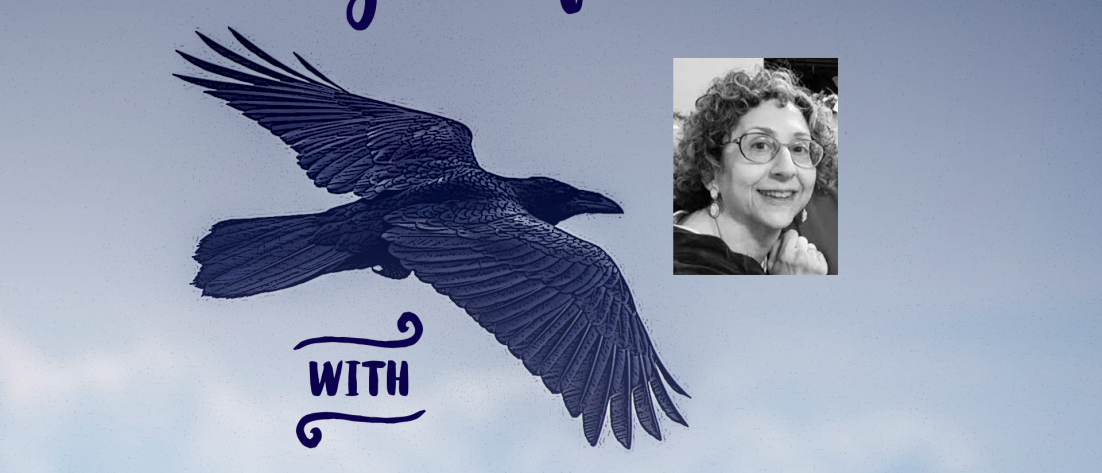"""A raven flying with the words """"Flight of Ideas with Betsy Wurzel"""""""