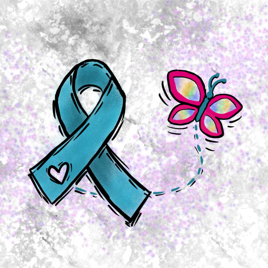 Teal ribbon representing ovarian cancer with colorful butterfly representing other cancers