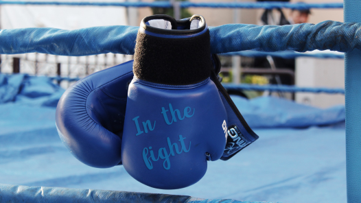 "Blue boxing gloves that say ""in the fight"""