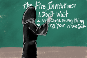 Death writing the 5 invitations on a chalkboard
