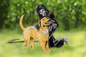 A dog enjoying a scratch by Death