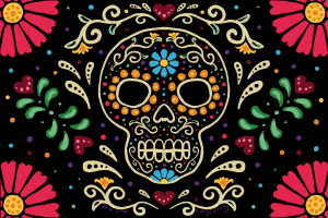 Candy Skull art with vibrant colors