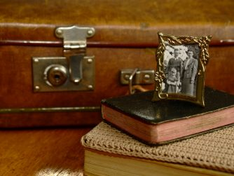 Suitcase, old family photo, and other valuables