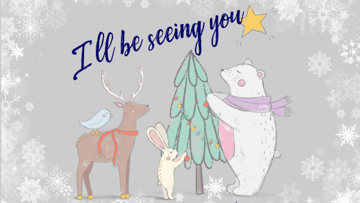 "Animals with holiday preparations and ""l'll be seeing you"" in text"