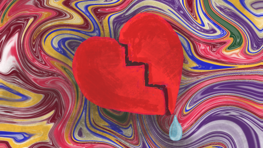 A swirling background (representing drug use) with a broken heart and tear (representing grief)