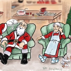 Mr and Mrs Claus exhausted after a corporate New Year's party