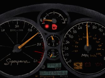A car dashboard showing empty fuel light, representing lack of energy