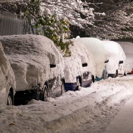 A row of snow-covered cars on a snowy street.