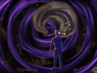 A person facing a space vortex with wisps and stars from their head disappearing into it. Representing the memory loss with dementia.