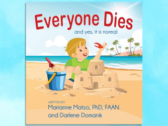 Book cover Everyone Dies (and yes it is normal). Boy holding a crab claw by a sand castle.