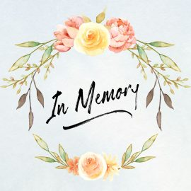 "A watercolor flower wreath with the words ""in memory"". every1dies.org"