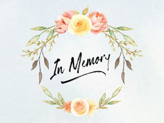 """A watercolor flower wreath with the words """"in memory"""". every1dies.org"""