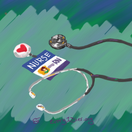 nurse badge and stethescope