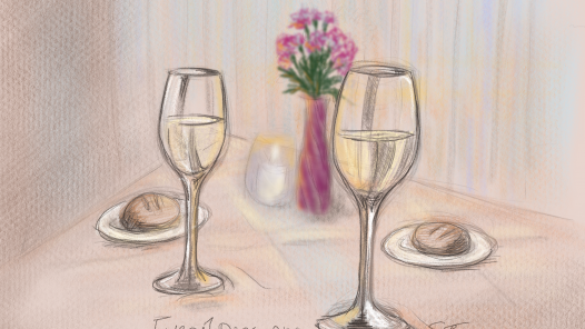Restaurant table with wine