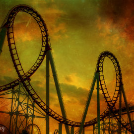 Rollercoaster in sunset