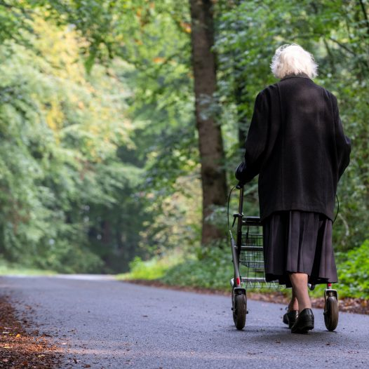 old lady walking with rollator
