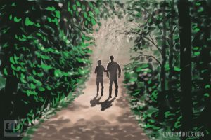 A man and woman walking from a dark forest into a light. For a podcast about end-of-life midwifes.