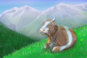 Content Alpine cow resting on hillside