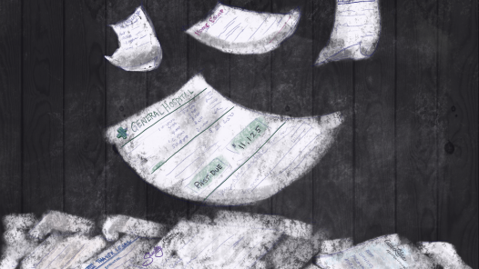 Medical, funeral and estate bills falling from the sky to a pile on the floor. (Every1dies.org)