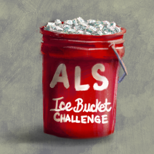 A red 5-gallon bucket filled with ice, with words ALS Ice Bucket Challenge